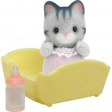 Sylvanian Families Harvey Gray Cat Baby