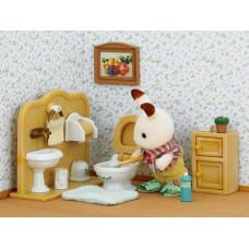 Sylvanian Families Chocolate Rabbit Brother and Washroom