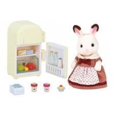 Sylvanian Families Chocolate Rabbit Mother with Refrigerator